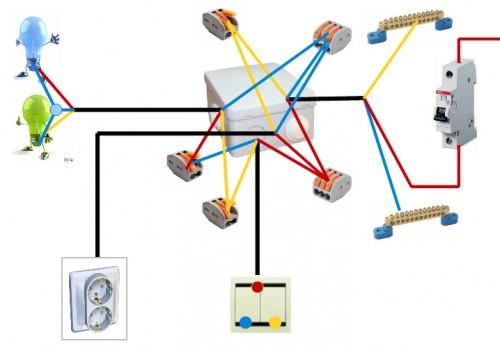 Схема в распределительной коробке, двух светильников и группа розеток