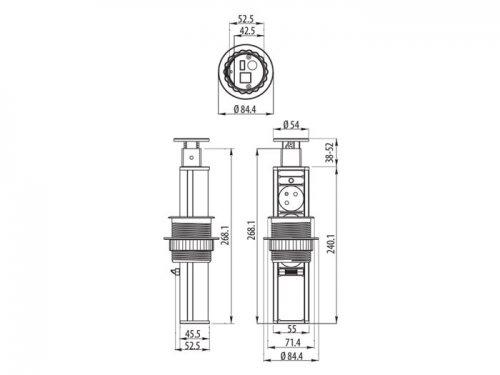 Круглый блок из розеток встраиваемый в столешницу кухни на 3 розетки (РРВК002)
