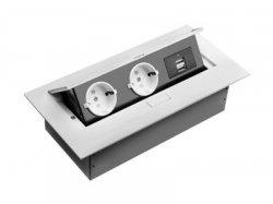 Прямоугольный блок из розеток встраиваемый в столешницу кухни врезной на 2 розетки и 2 выхода USB