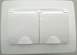 Обзор. Двойная розетка с IP44 в одно монтажное отверстие